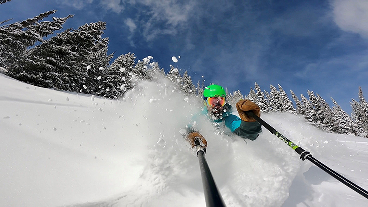 Skiing with GoPro in Powder Snow