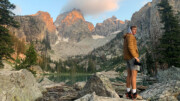 Man Hiking in Grand Teton National Park in Asolo Fugitive GTX Hiking Boots